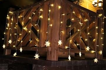 SALCAR 3m LED Lichtervorhang, 18er schneeflocke LED Lichterkette, Wasserdicht Innen/Außen Weihnachtsdeko 108er Leuchtioden Lichtervorhang Sternenvorhang - Warmweiß - 6