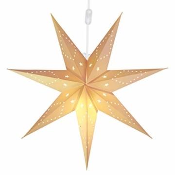 SALCAR LED-Papierstern zum Aufhängen, Laternen-Dekoration, Durchmesser 55cm, Papierstern für zu Hause, Dekoration, Papierstern Stern mit E27 LED Lampe, warmweiß, für Weihnachten, Geburtstag. - 2