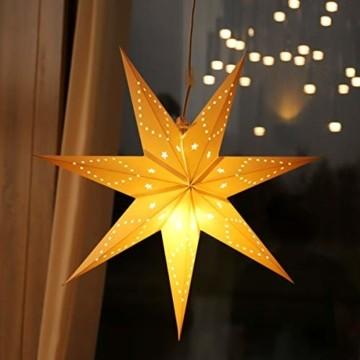 SALCAR LED-Papierstern zum Aufhängen, Laternen-Dekoration, Durchmesser 55cm, Papierstern für zu Hause, Dekoration, Papierstern Stern mit E27 LED Lampe, warmweiß, für Weihnachten, Geburtstag. - 1