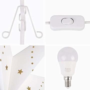 SALCAR LED-Papierstern zum Aufhängen, Laternen-Dekoration, Durchmesser 55cm, Papierstern für zu Hause, Dekoration, Papierstern Stern mit E27 LED Lampe, warmweiß, für Weihnachten, Geburtstag. - 5