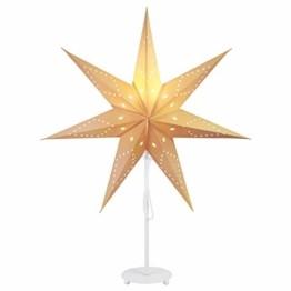 SALCAR Papierstern Ø 55 cm, LED-Tischlampe für Weihnachten, Inneneinrichtung, Beleuchtungslampe mit weißem Eisensockel und E27 Glühbirne, warmweiß - 1