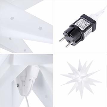 SALCAR PREMIUM Leuchtstern 3D - LED Weihnachtsstern - Sternenlicht für innen und außen - warm-weiße LED Beleuchtung - hängend - 60cm, weiß Stern + Warmweiß Licht - 2