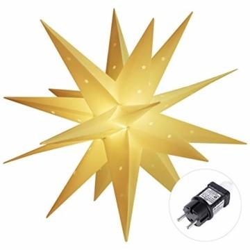 SALCAR PREMIUM Leuchtstern 3D - LED Weihnachtsstern - Sternenlicht für innen und außen - warm-weiße LED Beleuchtung - hängend - 60cm, weiß Stern + Warmweiß Licht - 3