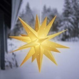SALCAR PREMIUM Leuchtstern 3D - LED Weihnachtsstern - Sternenlicht für innen und außen - warm-weiße LED Beleuchtung - hängend - 60cm, weiß Stern + Warmweiß Licht - 1