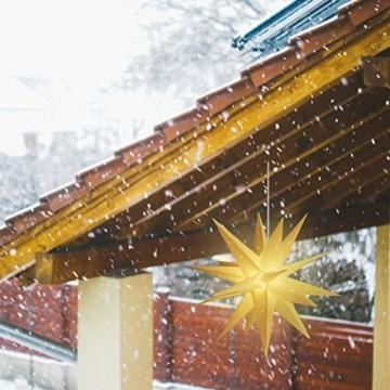 SALCAR PREMIUM Leuchtstern 3D - LED Weihnachtsstern - Sternenlicht für innen und außen - warm-weiße LED Beleuchtung - hängend - 60cm, weiß Stern + Warmweiß Licht - 4