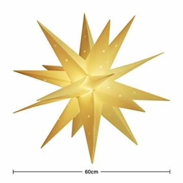 SALCAR PREMIUM Leuchtstern 3D - LED Weihnachtsstern - Sternenlicht für innen und außen - warm-weiße LED Beleuchtung - hängend - 60cm, weiß Stern + Warmweiß Licht - 6