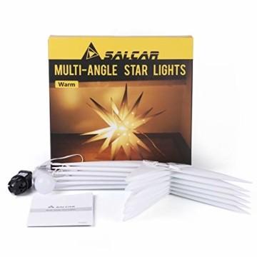SALCAR PREMIUM Leuchtstern 3D - LED Weihnachtsstern - Sternenlicht für innen und außen - warm-weiße LED Beleuchtung - hängend - 60cm, weiß Stern + Warmweiß Licht - 7