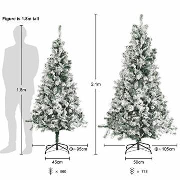 SALCAR Weihnachtsbaum künstlich Natur Weiss beschneit mit 718 Spitzen,Tannenbaum künstlich Schnellaufbau inkl. Christbaum-Ständer, Weihnachtsdeko - 2,1m - 2