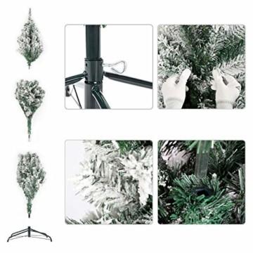 SALCAR Weihnachtsbaum künstlich Natur Weiss beschneit mit 718 Spitzen,Tannenbaum künstlich Schnellaufbau inkl. Christbaum-Ständer, Weihnachtsdeko - 2,1m - 3