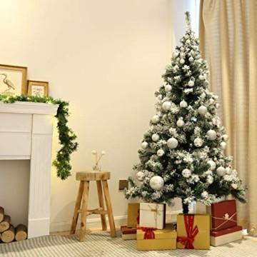 SALCAR Weihnachtsbaum künstlich Natur Weiss beschneit mit 718 Spitzen,Tannenbaum künstlich Schnellaufbau inkl. Christbaum-Ständer, Weihnachtsdeko - 2,1m - 4