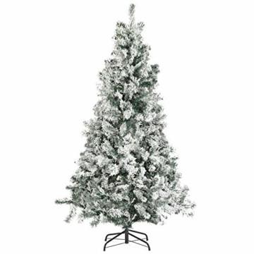 SALCAR Weihnachtsbaum künstlich Natur Weiss beschneit mit 718 Spitzen,Tannenbaum künstlich Schnellaufbau inkl. Christbaum-Ständer, Weihnachtsdeko - 2,1m - 1