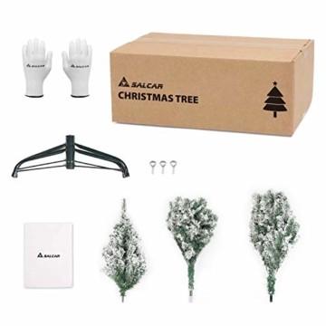 SALCAR Weihnachtsbaum künstlich Natur Weiss beschneit mit 718 Spitzen,Tannenbaum künstlich Schnellaufbau inkl. Christbaum-Ständer, Weihnachtsdeko - 2,1m - 5