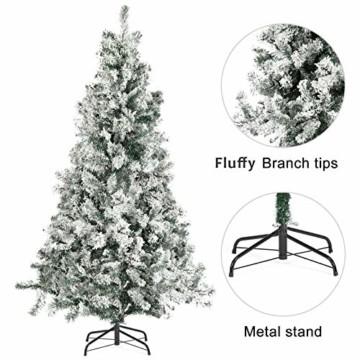 SALCAR Weihnachtsbaum künstlich Natur Weiss beschneit mit 718 Spitzen,Tannenbaum künstlich Schnellaufbau inkl. Christbaum-Ständer, Weihnachtsdeko - 2,1m - 6