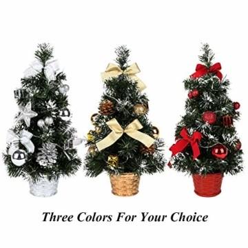 Sawpy Künstlicher Weihnachtsbaum 40CM Tannenbaum, Mini Plastik Weihnachtsbaum Christbaum Künstlich, Künstliche Weihnachtsbäume LED Baum mit Beleuchtung für Weihnachtsdeko Tischdeko Büro Miniatur Deko - 2
