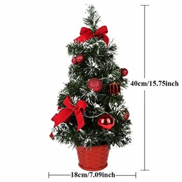 Sawpy Künstlicher Weihnachtsbaum 40CM Tannenbaum, Mini Plastik Weihnachtsbaum Christbaum Künstlich, Künstliche Weihnachtsbäume LED Baum mit Beleuchtung für Weihnachtsdeko Tischdeko Büro Miniatur Deko - 3