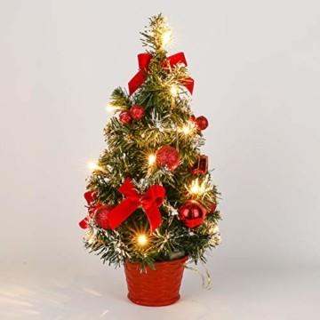 Sawpy Künstlicher Weihnachtsbaum 40CM Tannenbaum, Mini Plastik Weihnachtsbaum Christbaum Künstlich, Künstliche Weihnachtsbäume LED Baum mit Beleuchtung für Weihnachtsdeko Tischdeko Büro Miniatur Deko - 4