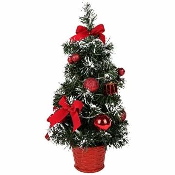 Sawpy Künstlicher Weihnachtsbaum 40CM Tannenbaum, Mini Plastik Weihnachtsbaum Christbaum Künstlich, Künstliche Weihnachtsbäume LED Baum mit Beleuchtung für Weihnachtsdeko Tischdeko Büro Miniatur Deko - 1