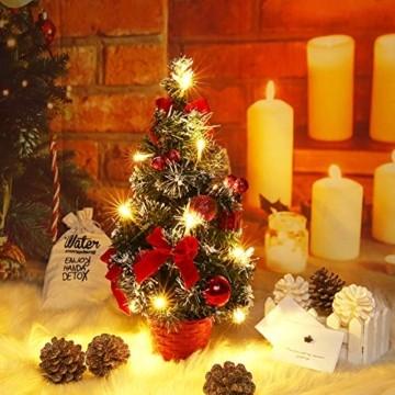 Sawpy Künstlicher Weihnachtsbaum 40CM Tannenbaum, Mini Plastik Weihnachtsbaum Christbaum Künstlich, Künstliche Weihnachtsbäume LED Baum mit Beleuchtung für Weihnachtsdeko Tischdeko Büro Miniatur Deko - 5