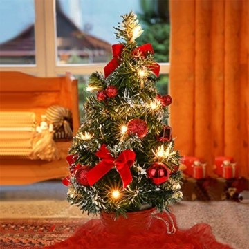 Sawpy Künstlicher Weihnachtsbaum 40CM Tannenbaum, Mini Plastik Weihnachtsbaum Christbaum Künstlich, Künstliche Weihnachtsbäume LED Baum mit Beleuchtung für Weihnachtsdeko Tischdeko Büro Miniatur Deko - 6