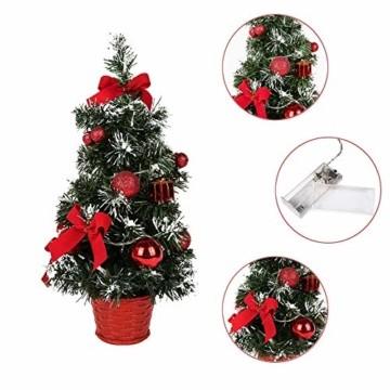 Sawpy Künstlicher Weihnachtsbaum 40CM Tannenbaum, Mini Plastik Weihnachtsbaum Christbaum Künstlich, Künstliche Weihnachtsbäume LED Baum mit Beleuchtung für Weihnachtsdeko Tischdeko Büro Miniatur Deko - 7