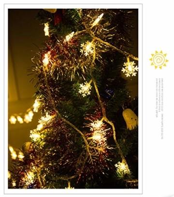 Schneeflocke Weihnachten Lichterketten,6M 40 LED Lichterkette Außen Weihnachtsbeleuchtung Batterie Betriebene für Schlafzimmer Innen Hochzeit Garten Zimmer Party Feier Deko(Warmweiß) - 2