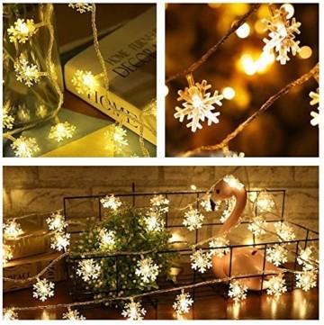 Schneeflocke Weihnachten Lichterketten,6M 40 LED Lichterkette Außen Weihnachtsbeleuchtung Batterie Betriebene für Schlafzimmer Innen Hochzeit Garten Zimmer Party Feier Deko(Warmweiß) - 3