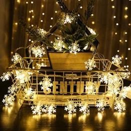 Schneeflocke Weihnachten Lichterketten,6M 40 LED Lichterkette Außen Weihnachtsbeleuchtung Batterie Betriebene für Schlafzimmer Innen Hochzeit Garten Zimmer Party Feier Deko(Warmweiß) - 1