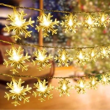Schneeflocke Weihnachten Lichterketten,6M 40 LED Lichterkette Außen Weihnachtsbeleuchtung Batterie Betriebene für Schlafzimmer Innen Hochzeit Garten Zimmer Party Feier Deko(Warmweiß) - 4