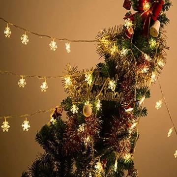 Schneeflocke Weihnachten Lichterketten,6M 40 LED Lichterkette Außen Weihnachtsbeleuchtung Batterie Betriebene für Schlafzimmer Innen Hochzeit Garten Zimmer Party Feier Deko(Warmweiß) - 5