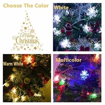 Schneeflocke Weihnachten Lichterketten,6M 40 LED Lichterkette Außen Weihnachtsbeleuchtung Batterie Betriebene für Schlafzimmer Innen Hochzeit Garten Zimmer Party Feier Deko(Warmweiß) - 6