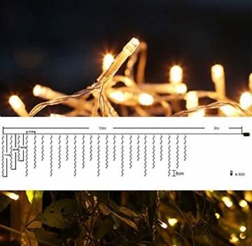 SEGVA 10m LED Lichtervorhang Eisregen, 384er LED Lichterkette Dekorative, Garten LED Lichterkette Vorhang mit 48 linie - Warmweiß - 2