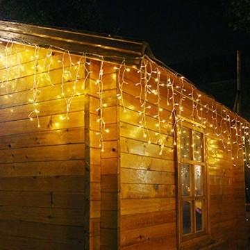 SEGVA 10m LED Lichtervorhang Eisregen, 384er LED Lichterkette Dekorative, Garten LED Lichterkette Vorhang mit 48 linie - Warmweiß - 3