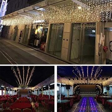 SEGVA 10m LED Lichtervorhang Eisregen, 384er LED Lichterkette Dekorative, Garten LED Lichterkette Vorhang mit 48 linie - Warmweiß - 4