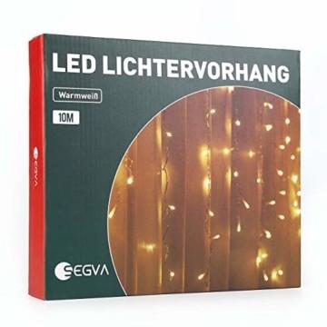 SEGVA 10m LED Lichtervorhang Eisregen, 384er LED Lichterkette Dekorative, Garten LED Lichterkette Vorhang mit 48 linie - Warmweiß - 1