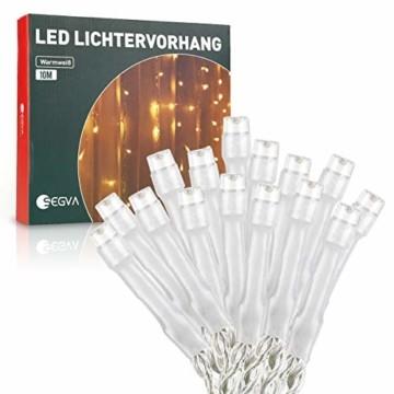 SEGVA 10m LED Lichtervorhang Eisregen, 384er LED Lichterkette Dekorative, Garten LED Lichterkette Vorhang mit 48 linie - Warmweiß - 5