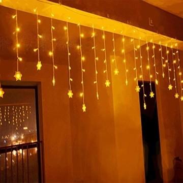 SEGVA 3m LED Lichtervorhang Schneeflocke, 108er LED Vorhang Lichterkette, Innen Außen Garten Deko - Warmweiß - 3