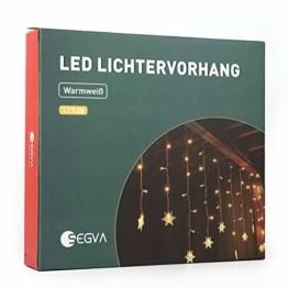 SEGVA 3m LED Lichtervorhang Schneeflocke, 108er LED Vorhang Lichterkette, Innen Außen Garten Deko - Warmweiß - 1