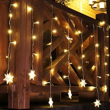 SEGVA 3m LED Lichtervorhang Schneeflocke, 108er LED Vorhang Lichterkette, Innen Außen Garten Deko - Warmweiß - 5