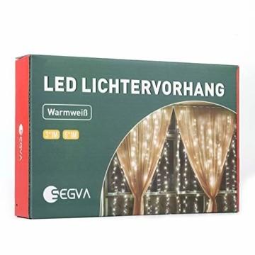 SEGVA LED lichterkette Vorhang 3m x 1m, 150er LED Lichtervorhang für Weihnachten - Warmweiß - 1
