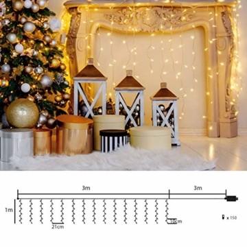 SEGVA LED lichterkette Vorhang 3m x 1m, 150er LED Lichtervorhang für Weihnachten - Warmweiß - 6