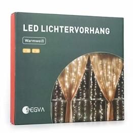 SEGVA LED lichterkette Vorhang 6m x 1m, 300er LED Lichtervorhang für Weihnachten - Warmweiß - 1