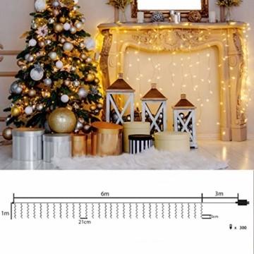 SEGVA LED lichterkette Vorhang 6m x 1m, 300er LED Lichtervorhang für Weihnachten - Warmweiß - 6