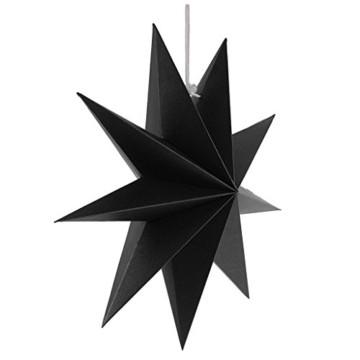 Sharplace Faltsterne, 30 cm 9 Zacken Weihnachtsstern Papiersterne Setfür Weihnachtsbaum Christmasbaum - Weiß grau Schwarz, 3 Stück - 2