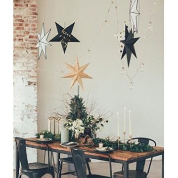 Sharplace Faltsterne, 30 cm 9 Zacken Weihnachtsstern Papiersterne Setfür Weihnachtsbaum Christmasbaum - Weiß grau Schwarz, 3 Stück - 4