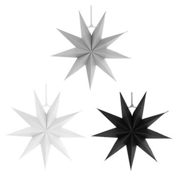 Sharplace Faltsterne, 30 cm 9 Zacken Weihnachtsstern Papiersterne Setfür Weihnachtsbaum Christmasbaum - Weiß grau Schwarz, 3 Stück - 1