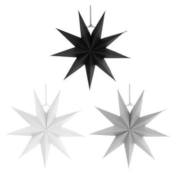 Sharplace Faltsterne, 30 cm 9 Zacken Weihnachtsstern Papiersterne Setfür Weihnachtsbaum Christmasbaum - Weiß grau Schwarz, 3 Stück - 6
