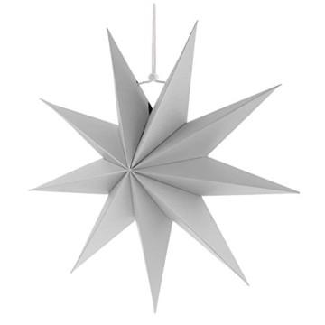 Sharplace Faltsterne, 30 cm 9 Zacken Weihnachtsstern Papiersterne Setfür Weihnachtsbaum Christmasbaum - Weiß grau Schwarz, 3 Stück - 7