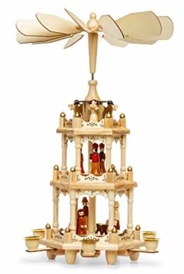 SIKORA P3 Klassische Holz Weihnachtspyramide mit 3 Etagen - 1