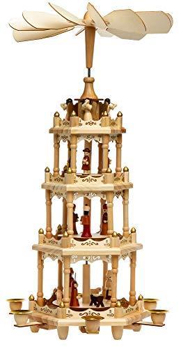SIKORA P4 Klassische Holz XL Weihnachtspyramide mit 4 Etagen - 4