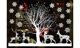 Sinwind Weihnachten Fenstersticker, Fensteraufkleber PVC Fensterbilder Weihnachten Fensterdeko selbstklebend Fensterfolie Weihnachtsdekoration (110cmX38cm) (Weihnachten 8) - 1
